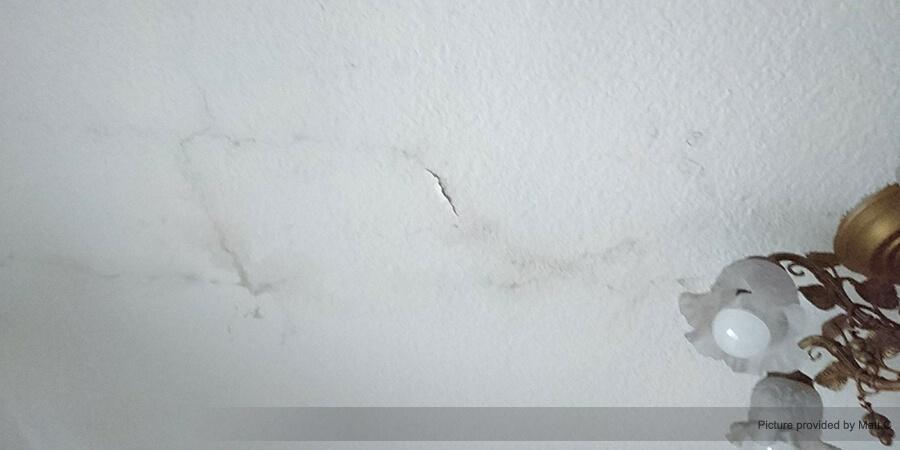 天花板漏水久未處理,日漸擴散