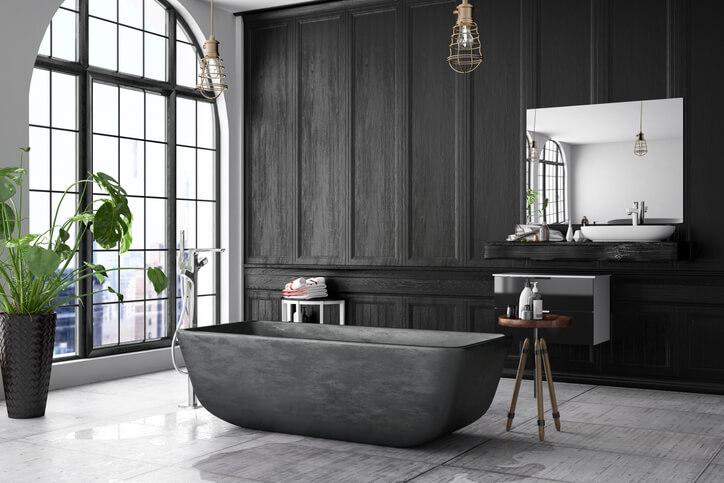浴缸依空間大小有常規、坐泡及扇形三種,若是想將浴缸擺在角落,扇形浴缸,可節省空間又美觀。